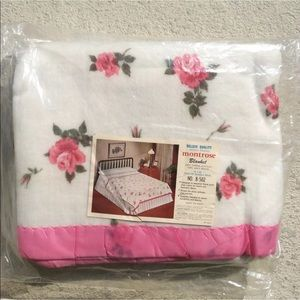Vintage Pink Roses Twin/Double 72x90 Blanket | New